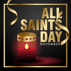 all saints day creative poster with gold color and lantern
