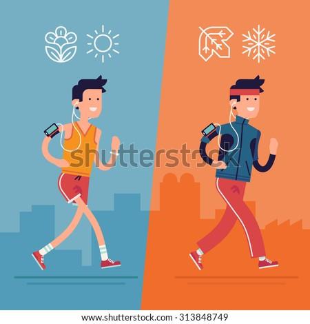 all seasons fitness run vector