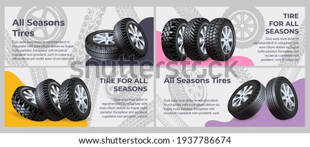 All seasons tire collection of flat banners. New car tires on road mark background, vector illustration. Change of seasonal tires for wheels, landing page collection. Car maintenance service