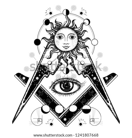 All seeing eye. Alchemy, medieval religion, occultism, spirituality and esoteric tattoo. Magic eye t-shirt design. Mysteries of knowledge