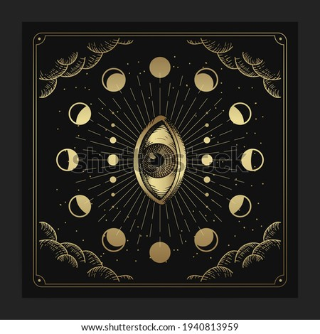 All seeing eye and moon phase decorations with engraving, handrawn, luxury, esoteric, boho style, fit for paranormal, tarot reader, astrologer or tattoo