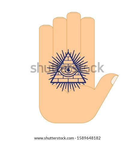 All-seeing eye arm tattoo. Symbol of world government. Illuminati conspiracy theory. sacred sign. Pyramid with an eye.