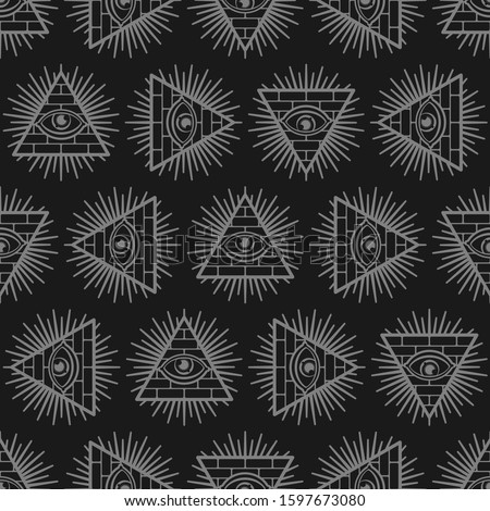All-seeing eye background. Pyramid with an eye pattern seamless. Symbol of world government. Illuminati conspiracy theory texture. sacred sign ornament