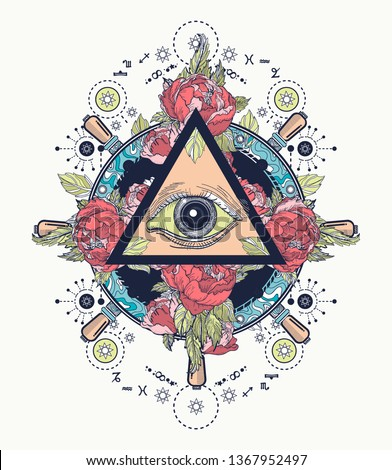 All seeing eye color tattoo art and t-s. Freemason and spiritual symbols. Alchemy, medieval religion, occultism and esoteric concept