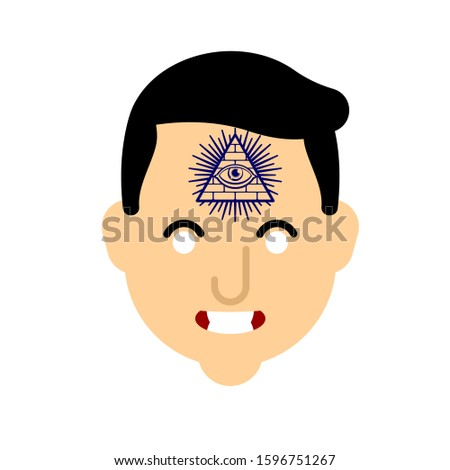 All-seeing eye face tattoo. Symbol of world government. Illuminati conspiracy theory. sacred sign. Pyramid with an eye.