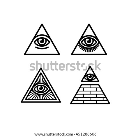 All Seeing Eye icons set. Illuminati symbol, eye in a pyramid, in different styles.