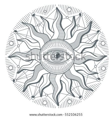 All seeing eye illuminati new world order vector freemasonry sign. Illustration of illuminati freemasonry symbol