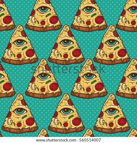 All Seeing Eye Illuminati Pizza Slice seamless Pattern. Wallpaper Background