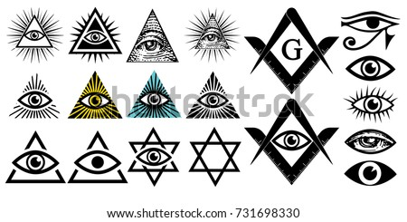 All seeing eye. Illuminati symbols, masonic sign. Conspiracy of elites.The Jewish Star Sign of David. New world order. Vector illustration set