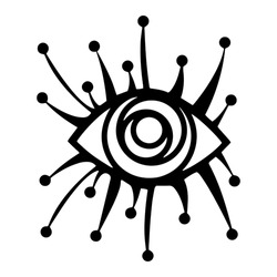 All Seeing Eye illustration. Providence magic symbol in boho style. Astrology, occult and tribal, esoteric and alchemy sign. Vector