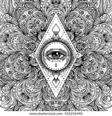 All Seeing Eye In Ornate Round Mandala Pattern Mystic