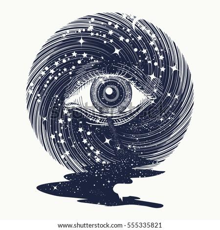 All seeing eye in space among stars tattoo art vector. Freemason and spiritual symbols. Spirituality and esoteric art. Magic eye in universe. Star river