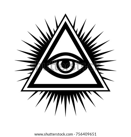 All-Seeing Eye of God (The Eye of Providence | Eye of Omniscience | Luminous Delta | Oculus Dei). Ancient mystical sacral symbol of Illuminati and Freemasonry.