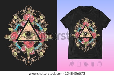 All seeing eye. Print for t-shirts and another, trendy apparel design. Freemason and spiritual symbols. Alchemy, medieval religion, occultism