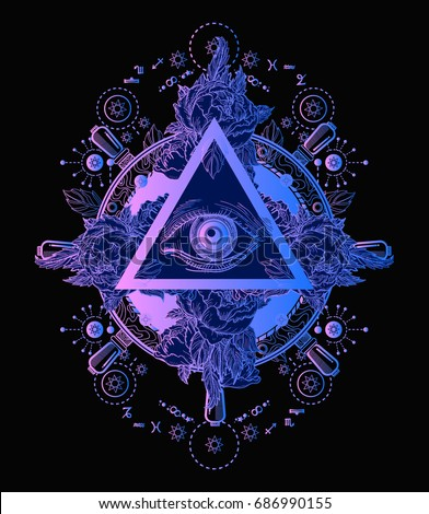 All seeing eye pyramid poster and t-shirt design. Freemason and spiritual symbols. Alchemy, medieval religion, occultism, spirituality and esoteric tattoo. Magic eye t-shirt design