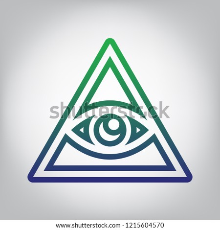 All seeing eye pyramid symbol. Freemason and spiritual. Vector. Green to blue gradient contour icon at grayish background with light in center.