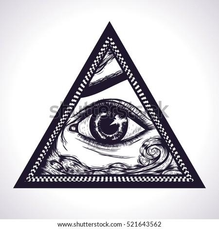 e91d0a723730b All seeing eye pyramid symbol. New World Order.Eye of Providence. Hand drawn