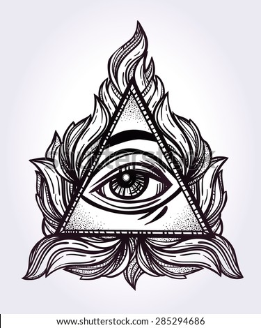 All seeing eye pyramid symbol. New World Order. Hand-drawn Eye of Providence. Alchemy, religion, spirituality, occultism, tattoo art. Isolated vector illustration. Conspiracy theory.