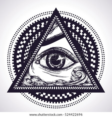 1361a70c1c40d All seeing eye pyramid symbol with hypnotic circles. New World Order.Eye of  Providence