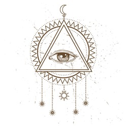 All seeing eye symbol and sacred geometry