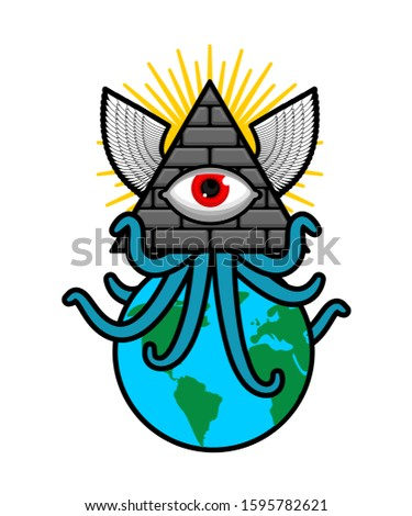 All-seeing eye. Symbol of world government. Illuminati conspiracy theory. sacred sign. Pyramid with an eye.