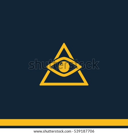 All seeing eye symbol, simple triangle. Flat vector icon.