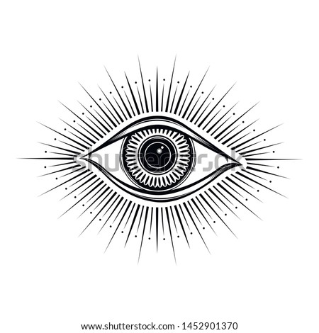 All seeing eye symbol. Vision of Providence. Alchemy, religion, spirituality, occultism, tattoo art. Isolated vector illustration. Conspiracy theory. Decorative drawing style print logo god
