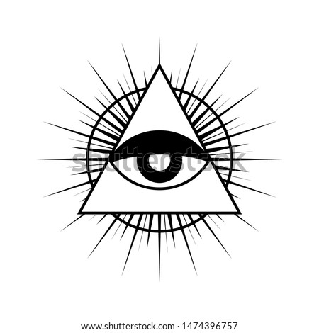 All seeing eye symbol with triangle. Triangle with eye, all seeing eye, isolated on white. All seeing eye black and white color, vector.