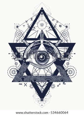 All seeing eye tattoo art vector. Freemason and spiritual symbols. Alchemy, medieval religion, occultism, spirituality and esoteric art. Magic eye, compass and steering wheel t-shirt design