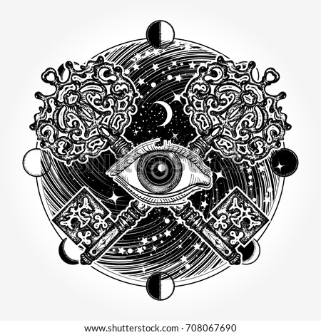 All seeing eye tattoo occult art, masonic magic key. Mystical esoteric symbol of secret knowledge