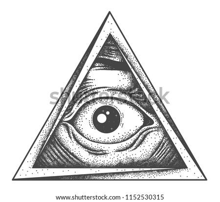 All-seeing eye tattoo. Old-school tattoo.  Sketch. Dot work. Pointillisme