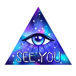 All seeing eye. Vector bright colorful cosmos illustration. Cosmic background with stars. Hand-drawn Eye of Providence. Alchemy, religion, spirituality, occultism, tattoo art. Conspiracy theory.