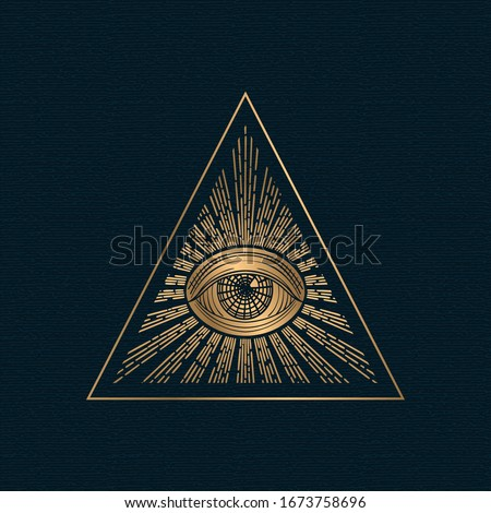 All seeing eye vector, illuminati symbol in triangle with light ray, tattoo design isolated on white background Сток-фото ©