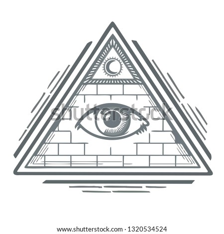 All-seeing eye vector sign icon. Masonic symbol All-seeing eye in the pyramid of the triangle. Illustration of the all-seeing eye of God in flat line minimalism style.