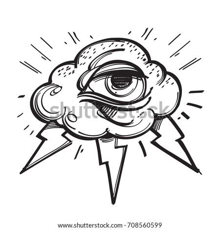 all seeing eye with cloud and