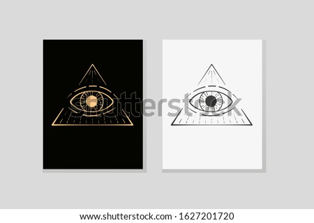 All-seeing logo in the triangle. Vector emblem of masons, Illuminati, astrology, occultism. A mysterious sign, tattoo, or print. Simple geometric design for branding, packaging.