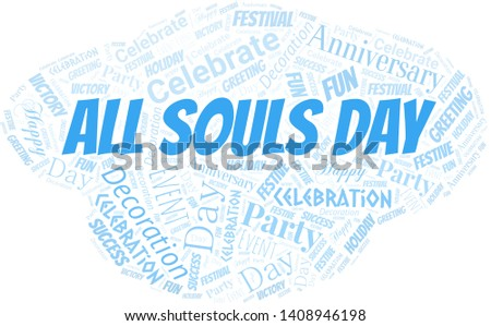 All Souls Day Word Cloud. Word cloud Made With Text.