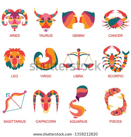 All star signs with different colors on white background. Vector set astrology sign. Twelve horoscope zodiac star icons
