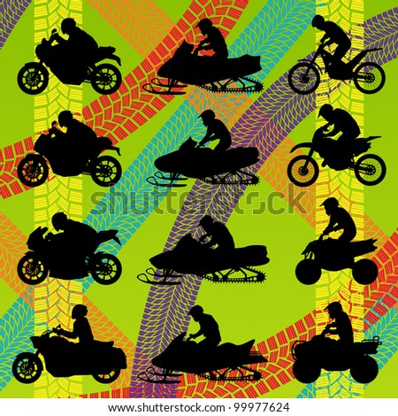 All terrain and sport motorbike riders motorcycle silhouettes collection in tire tracks colorful pattern illustration background vector