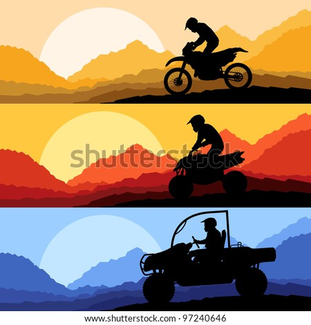 All terrain and sport motorbike riders motorcycle silhouettes reflection collection in wild mountain landscape background illustration vector