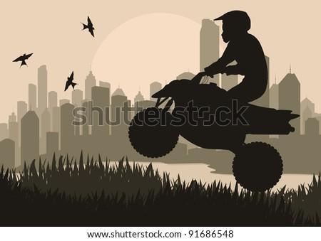 All terrain vehicle motorbike rider in skyscraper city landscape background illustration vector