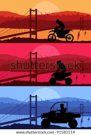 All terrain vehicle motorbike riders in Arabic city bridge landscape background illustration vector
