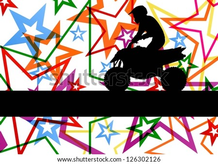 All terrain vehicle quad motorbike rider illustration colorful star line background vector
