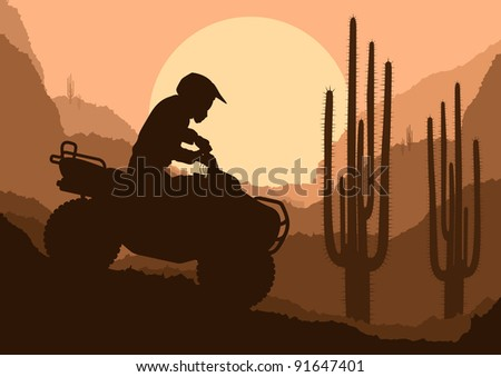 All terrain vehicle quad motorbike rider in desert wild nature landscape background illustration vector