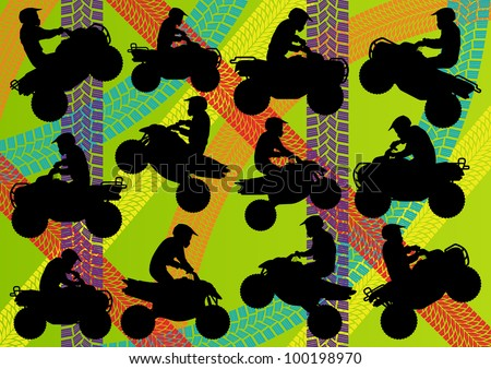 All terrain vehicle quad motorbikes riders illustration collection on colorful summer tire track background vector
