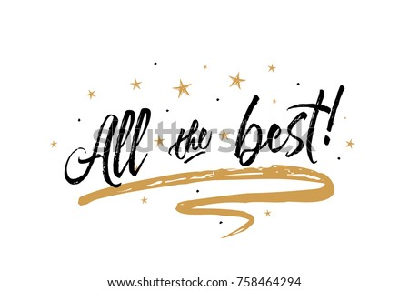 All the best card. Beautiful greeting banner poster calligraphy inscription black text Word gold ribbon. Hand drawn design elements. Handwritten modern brush lettering white background isolated vector