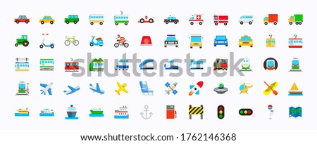 all transport vector icons  set