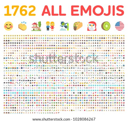 All type of emojis, emoticons flat vector illustration symbols. All world countries rounded circle flags. Hands, man, woman, worker, fruit, drinks, food, house, animal, activity, sport smileys icons
