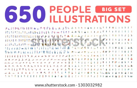 All type of people, happy family, different professions flat illustrations vector set. Doctors, shopping, business, social, meeting, athletes, discussing isometric illustrations big set, collection.