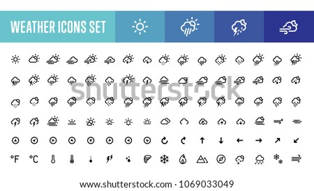 All types of air, weather conditions, rain, snowing, raining, sunny, stormy, windy, cloudy, arrows, prognosis modern line vector illustration symbols icons set, collection, pack